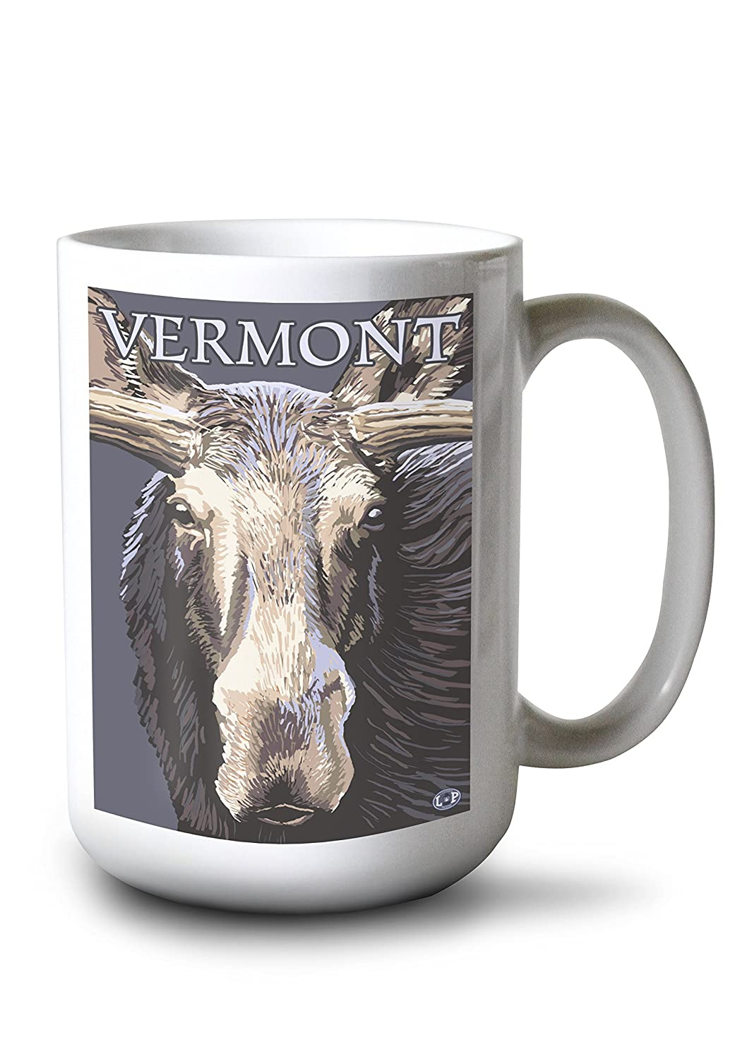 Vermont – Moose Up Close 15oz Mug LANT-3P-15OZ-WHT-19538 B077RVYLGN  15oz Mug