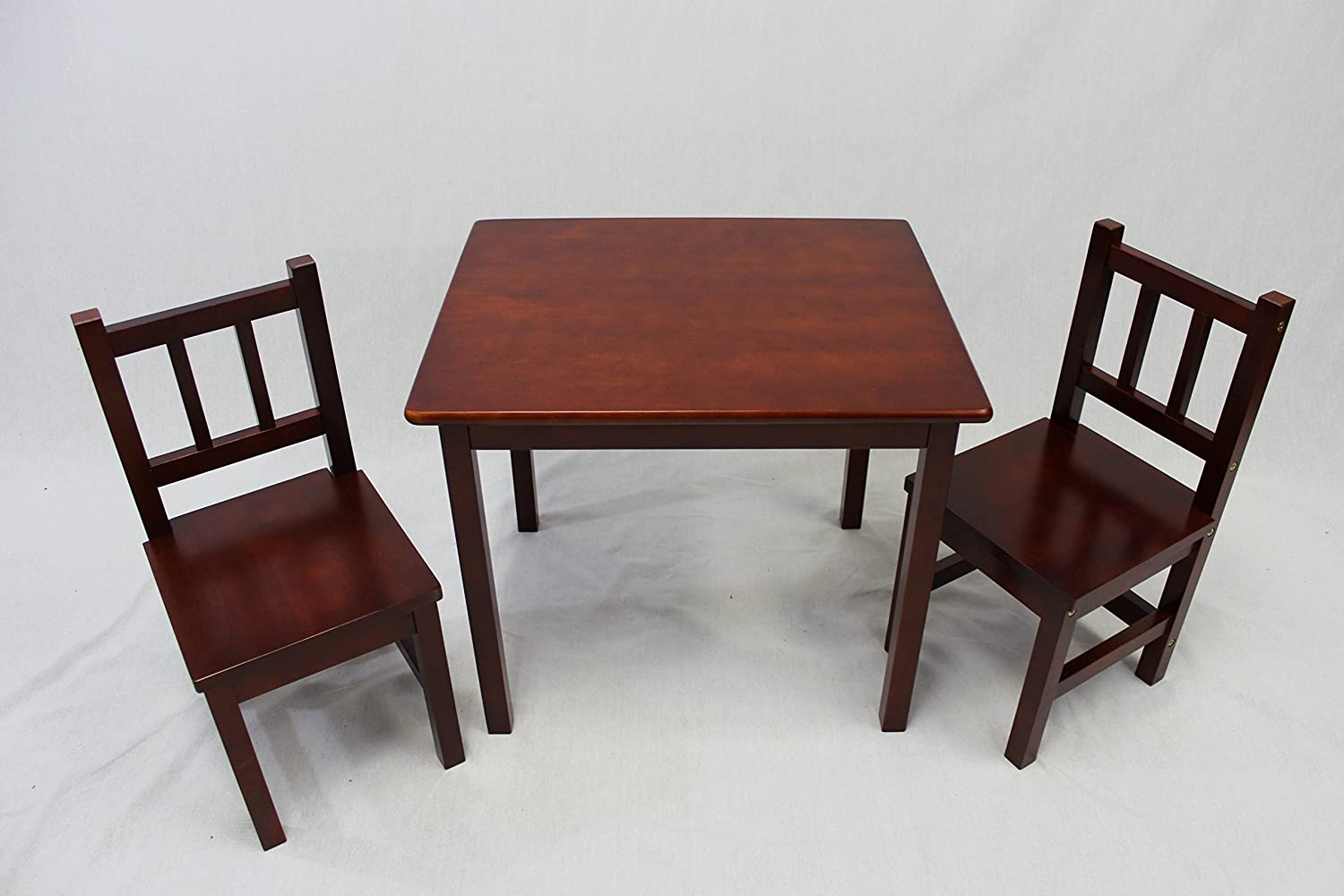 Kid table and chairs wood - Amazon Com Ehemco Kids Table And 2 Chairs Set Solid Hard Wood Cherry Kitchen Dining