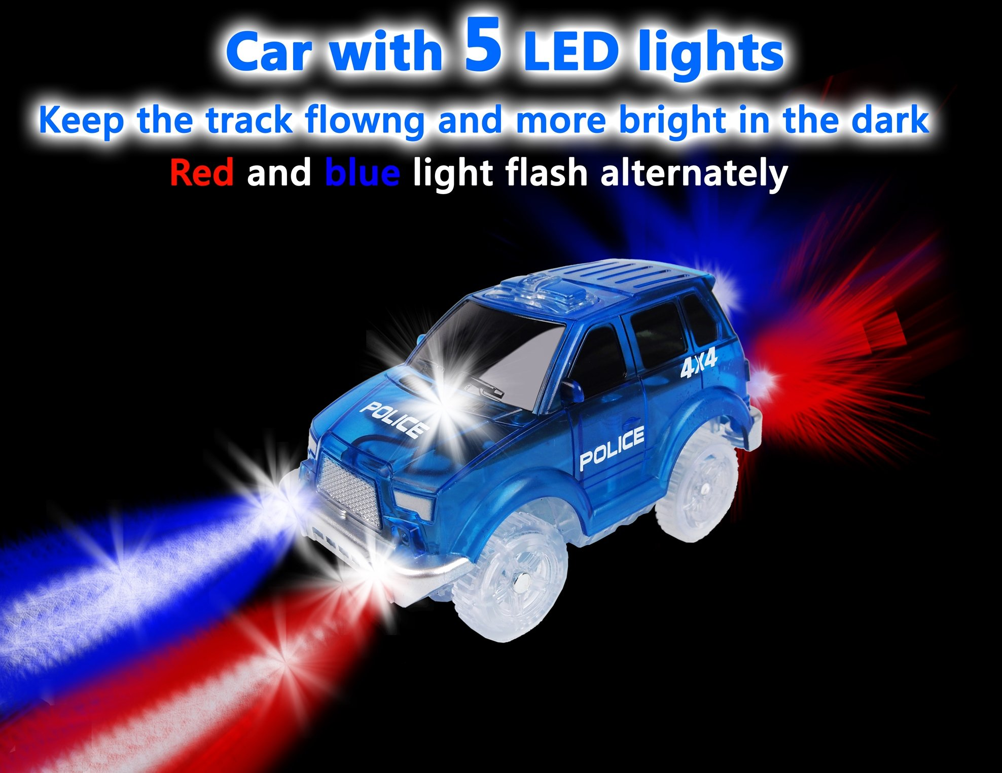 Track Car 3 Pack, Green Military Jeep, Blue Police and School Bus Car, with 5 LED Lights, Compatible with Most Tracks Including Magic Tracks, Neo Twister Tracks, Boys and Girls by HapiSimi (Image #5)