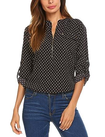 951a6871 LOMON Women Casual V-Neck Short Sleeve Zip Up Shirt Chiffon Polka Dot Blouse  Top
