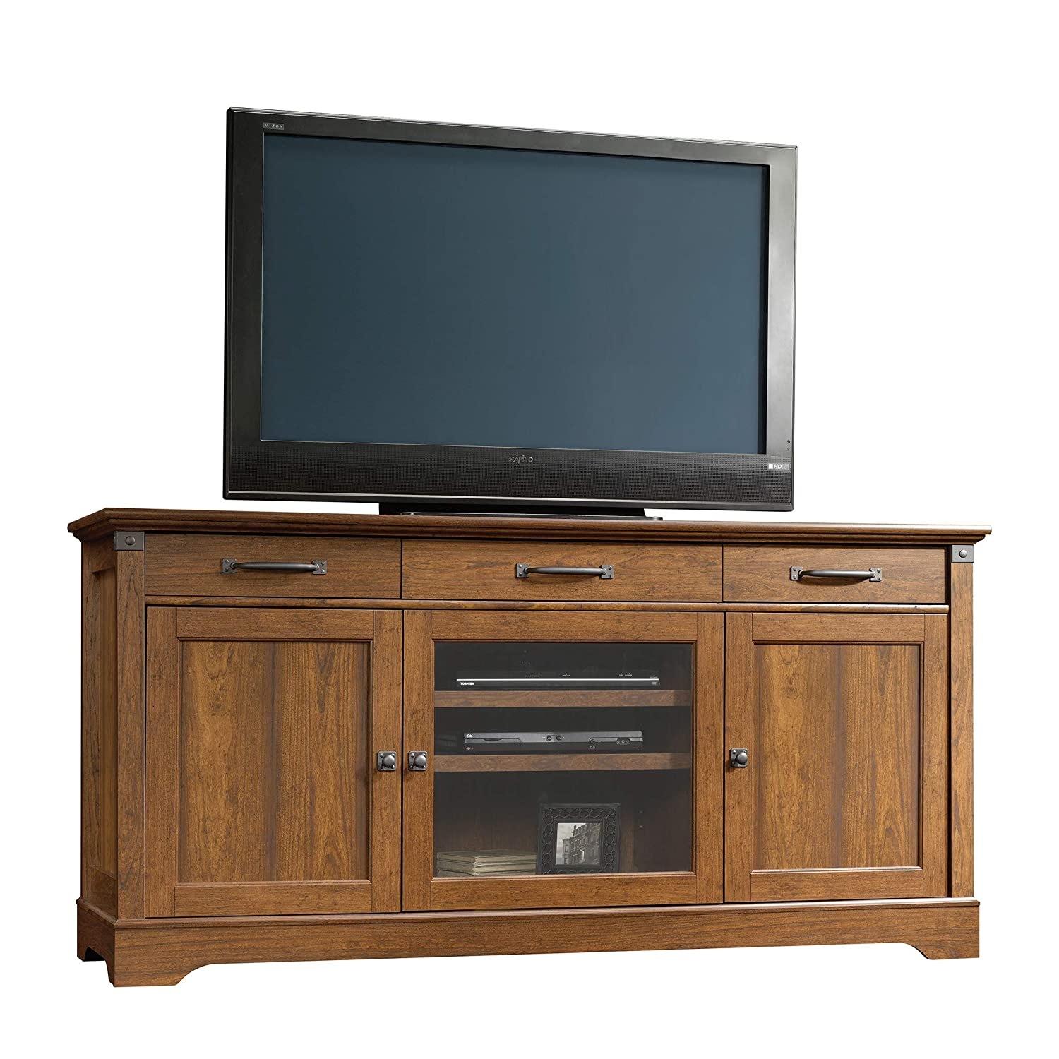 Sauder 415572 Carson Forge Credenza, For For TVs up to 70 , Washington Cherry