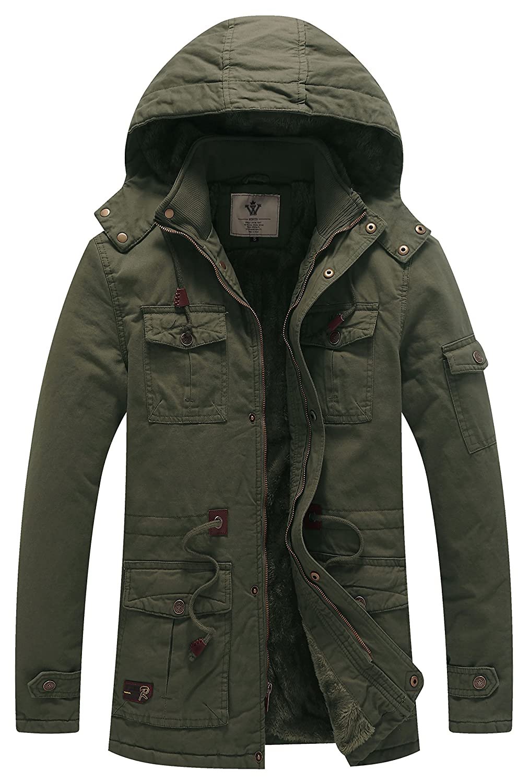 WenVen Men's Winter Thicken Cotton Parka Jacket with Removable Hood wvmena0008