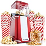 VonShef Retro Vintage Hot Air Popcorn Maker with 6 Popcorn Boxes