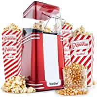 VonShef Vintage Popcorn Maker – Retro Hot Air Popcorn Machine Popper with 6 Popcorn Boxes