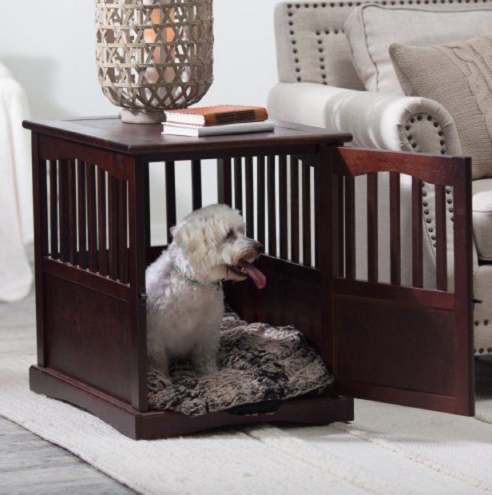 NEW Wooden Pet Crate end table kennel cage furniture dog pen indoor house bed Small by Polarbear's Shop