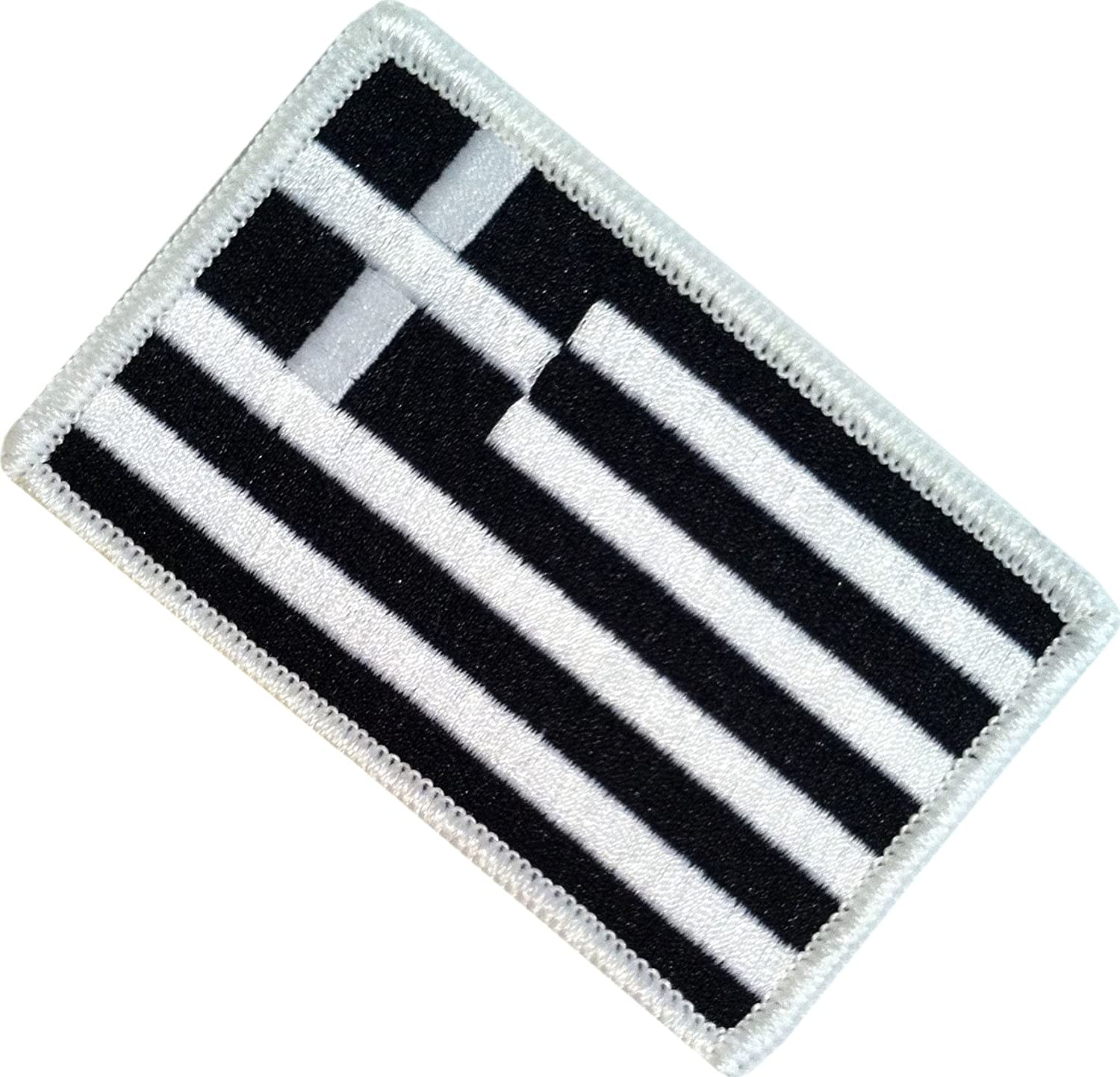 Cool /& Awesome {2.15 x 3.4 Inches} Small Rectangle Greece National Modern Greek Flag Badge National Cross /& Stripe Emblem Design Single Count Military Type Custom Velcro Patch Black /& White