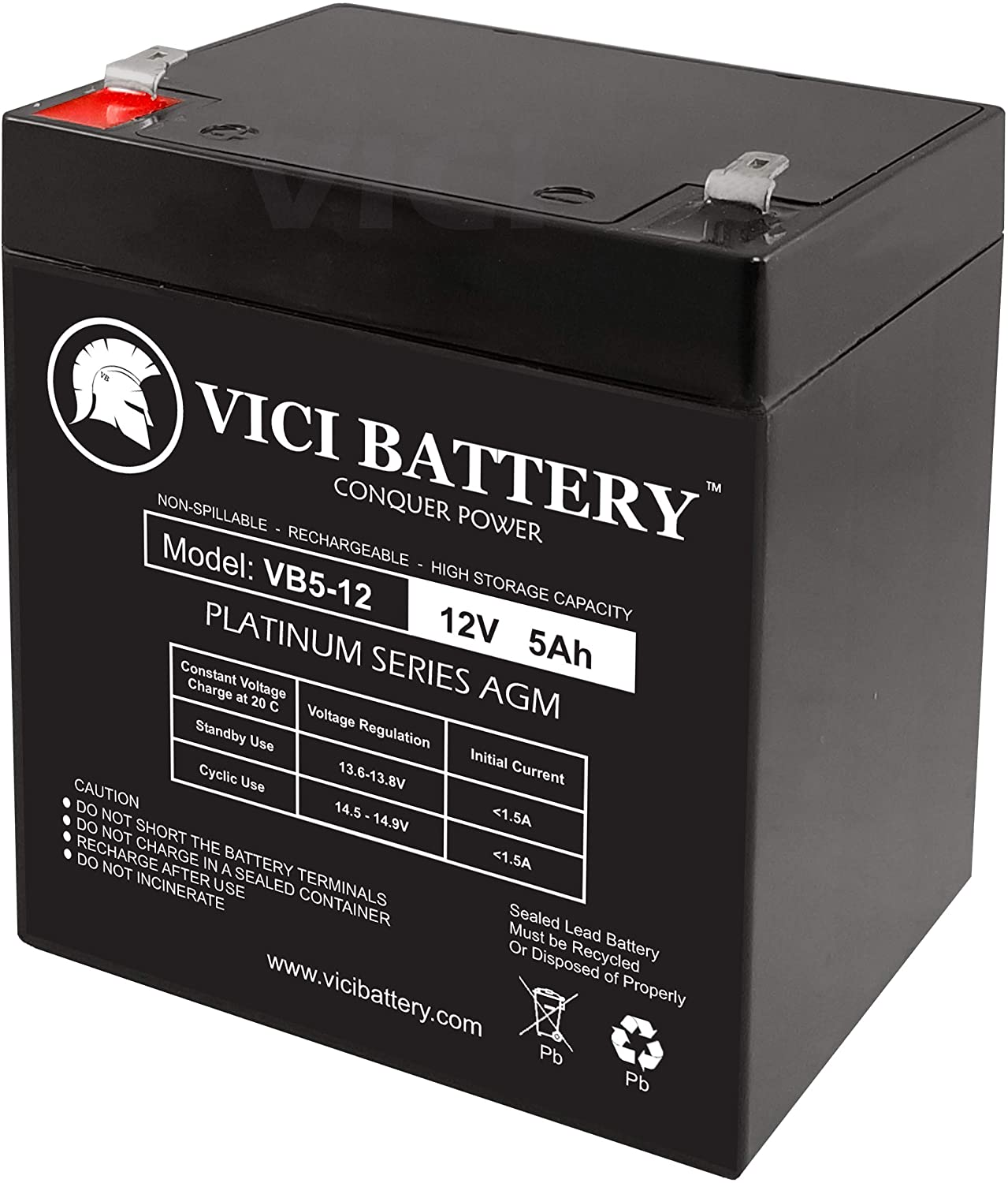 12V 5AH Replacement for UPS Battery for Topin 12V5AH//20HR Battery VICI Battery VB5-12 4 Pack Brand Product