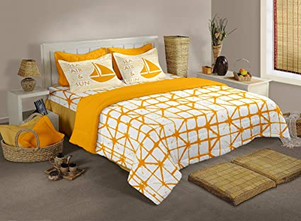 Bianca 100% Cotton King Size Double Bedsheet with 2 Pillow Covers (Yellow)