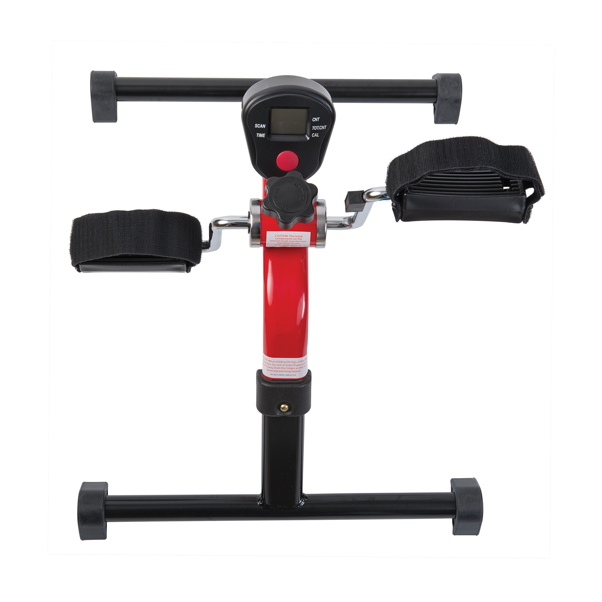 HealthSmart Lightweight Pedal Exerciser with Folding Legs and Digital Monitor Display for Exercising Arms and Legs, Red