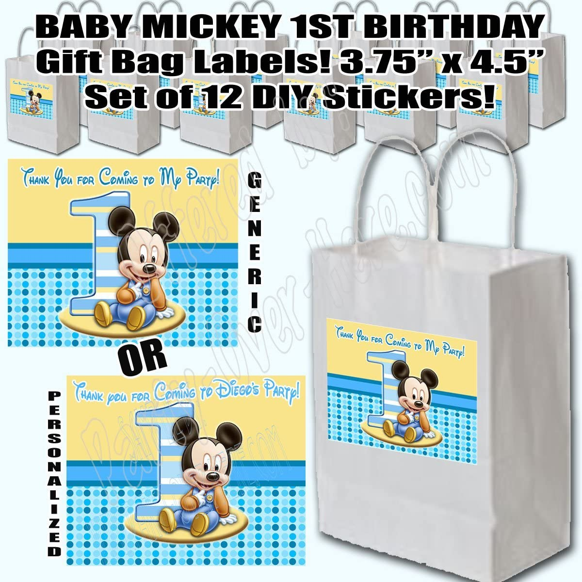 BABY MICKEY 1ST BIRTHDAY CUSTOM  PARTY STICKERS FAVORS LABELS ~ VARIOUS SIZES