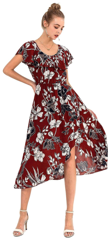 Wantdo Damen Sommerkleid T-Shirt Strandkleid mit Schlitz ärmel Rundhals Knielang Große Größen