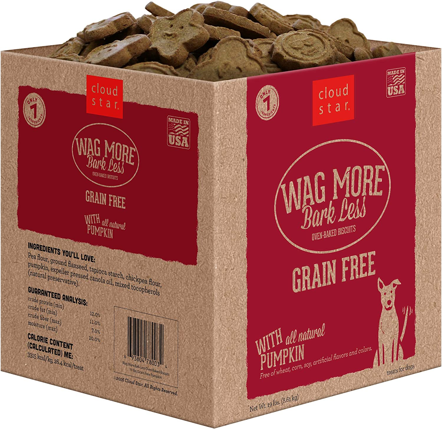 Cloud Star Wag More Bark Less Oven Baked Biscuits, Grain Free Crunchy Dog Treats, Made in the USA