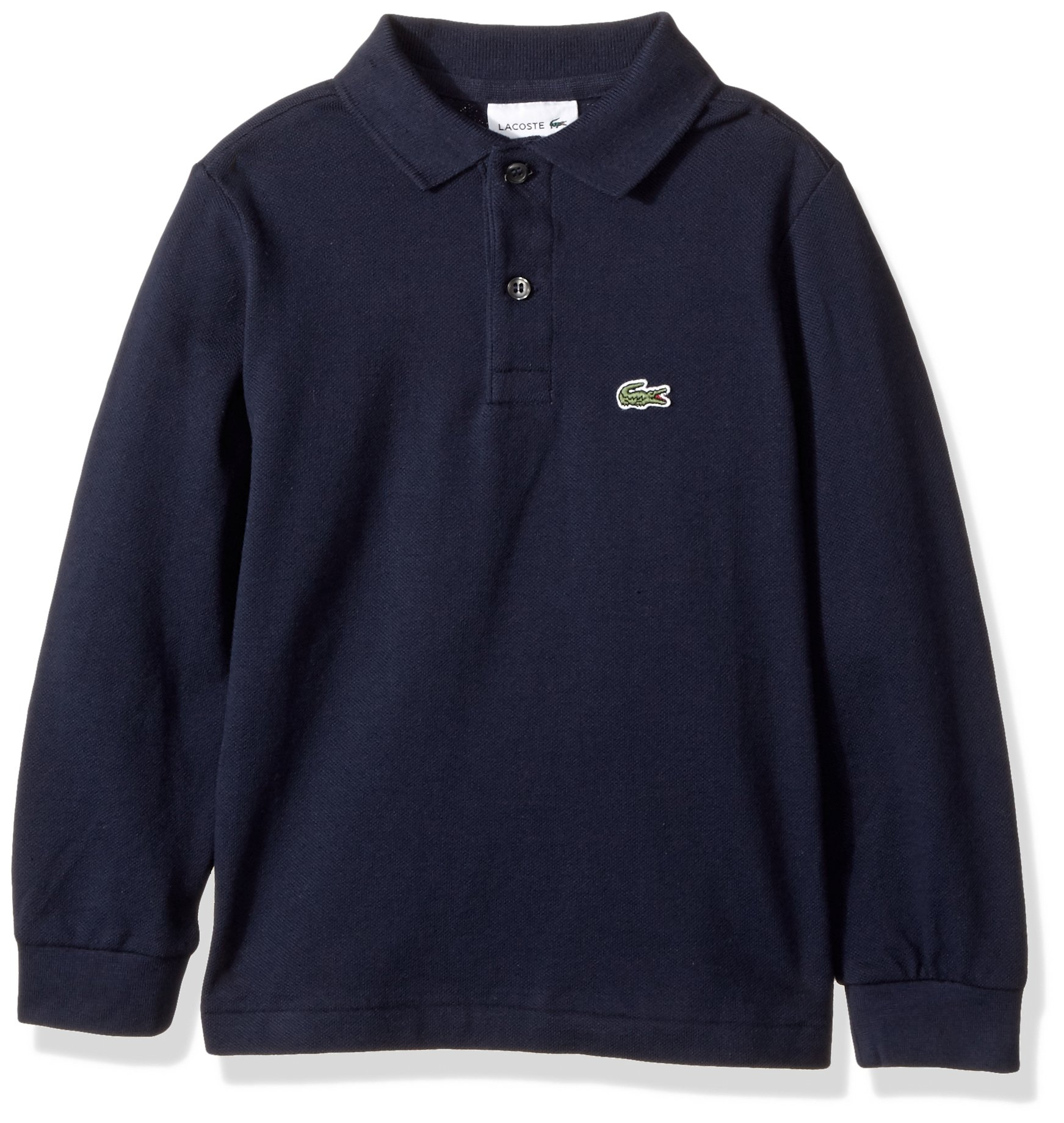 Lacoste Big Boy Long Sleeve Classic Solid Pique Polo, Navy Blue, 10