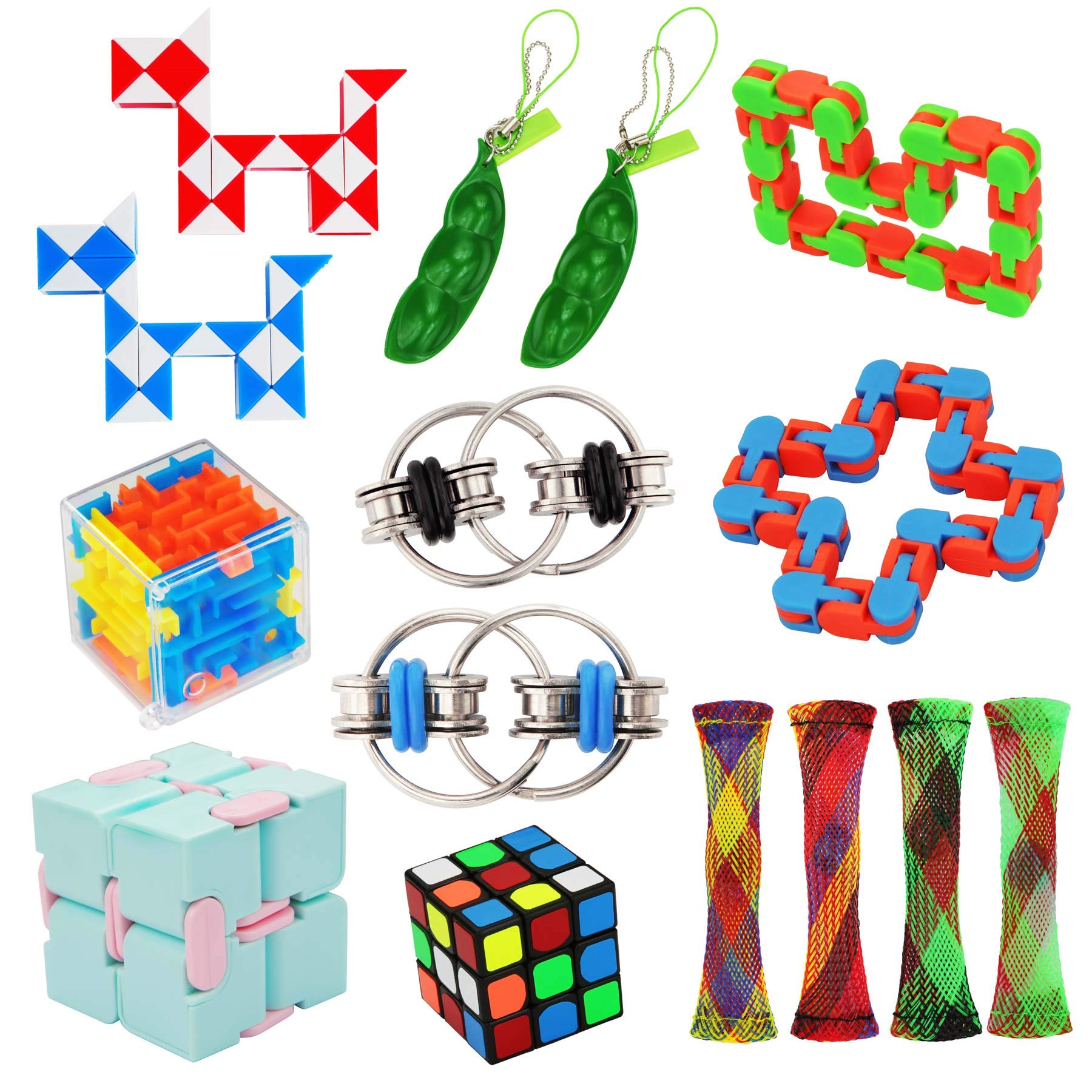 15 Pack Fidget Toy Chain Marble Fidget Keychain Fidget Toys Snake Cube Toys Infinity Cube Toy Squeeze-a-Bean Keyring Pea Keychain Soybean Toys Gift