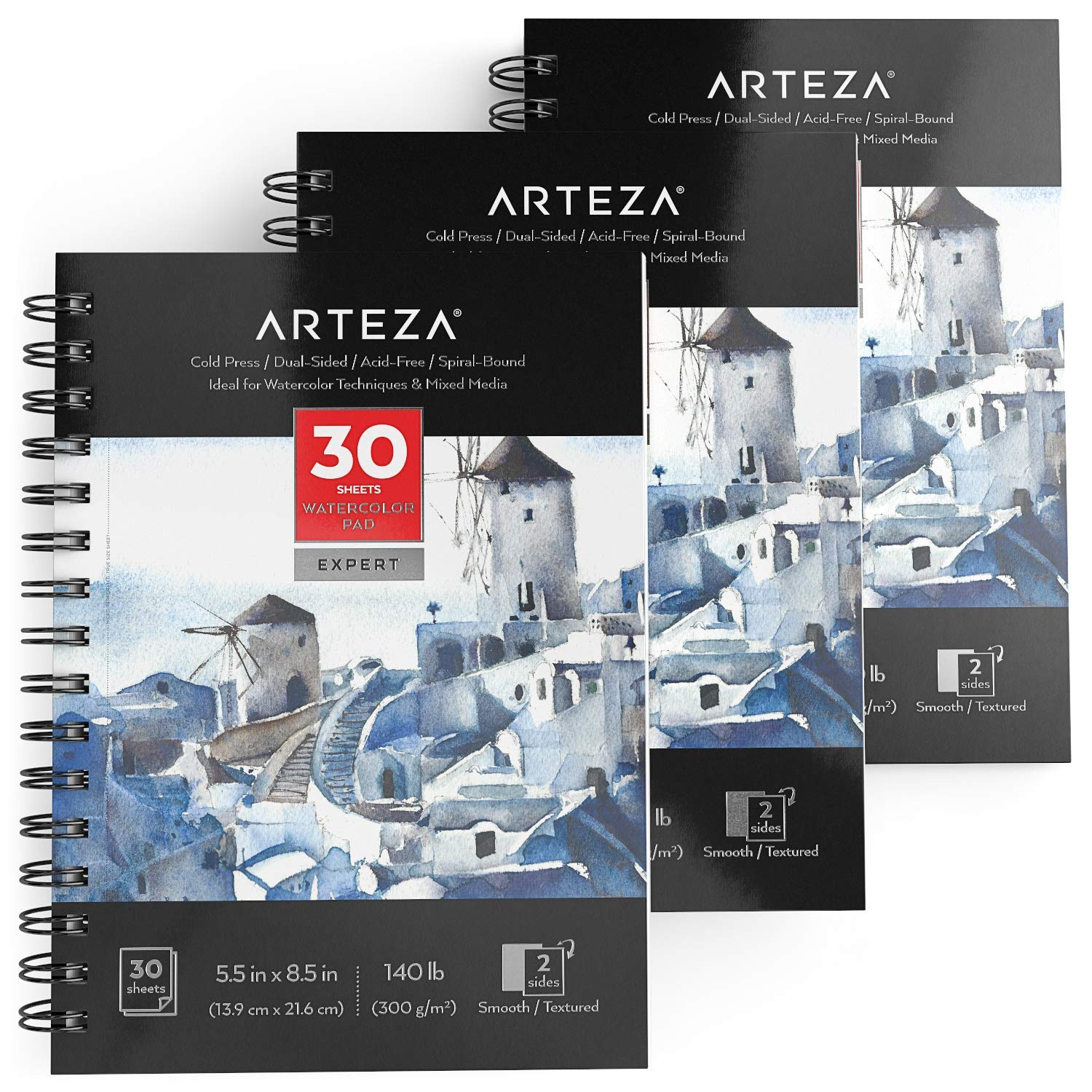 ARTEZA Expert Spiral Bound Watercolor Pad, Acid Free Cold Pressed Paper, 5.5 x 8.5 Inches, 140lb/300gsm, 30 Sheets, Pack of 3 by ARTEZA