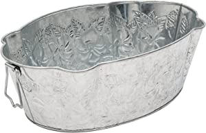 Achla Designs C-52 Embossed Oval Galvanized Steel Tub