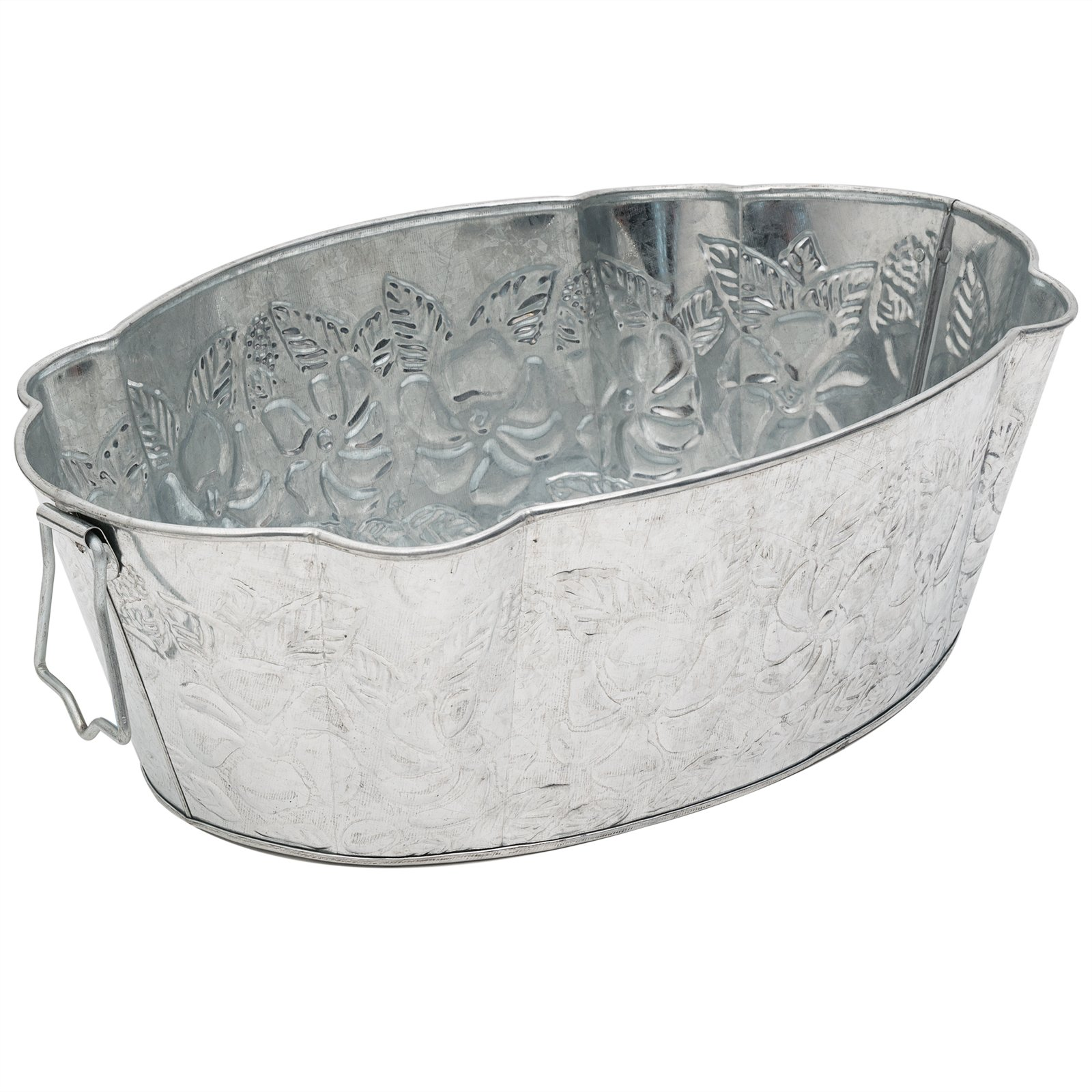 Achla Designs Oval Embossed Galvanized Tub