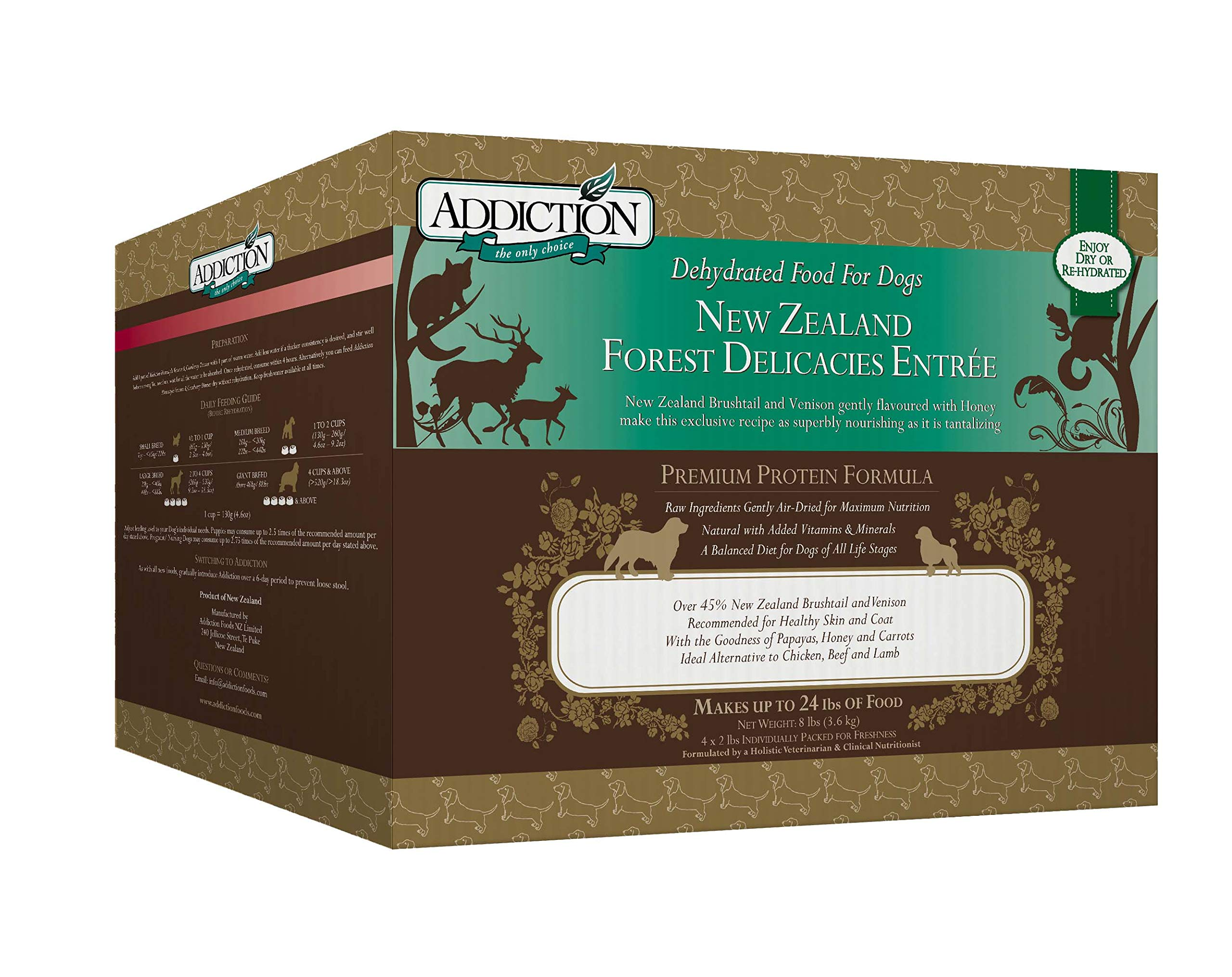 Addiction New Zealand Forest Delicacies Filler Free Dehydrated Dog Food, 8 Lb by Addiction Pet Foods