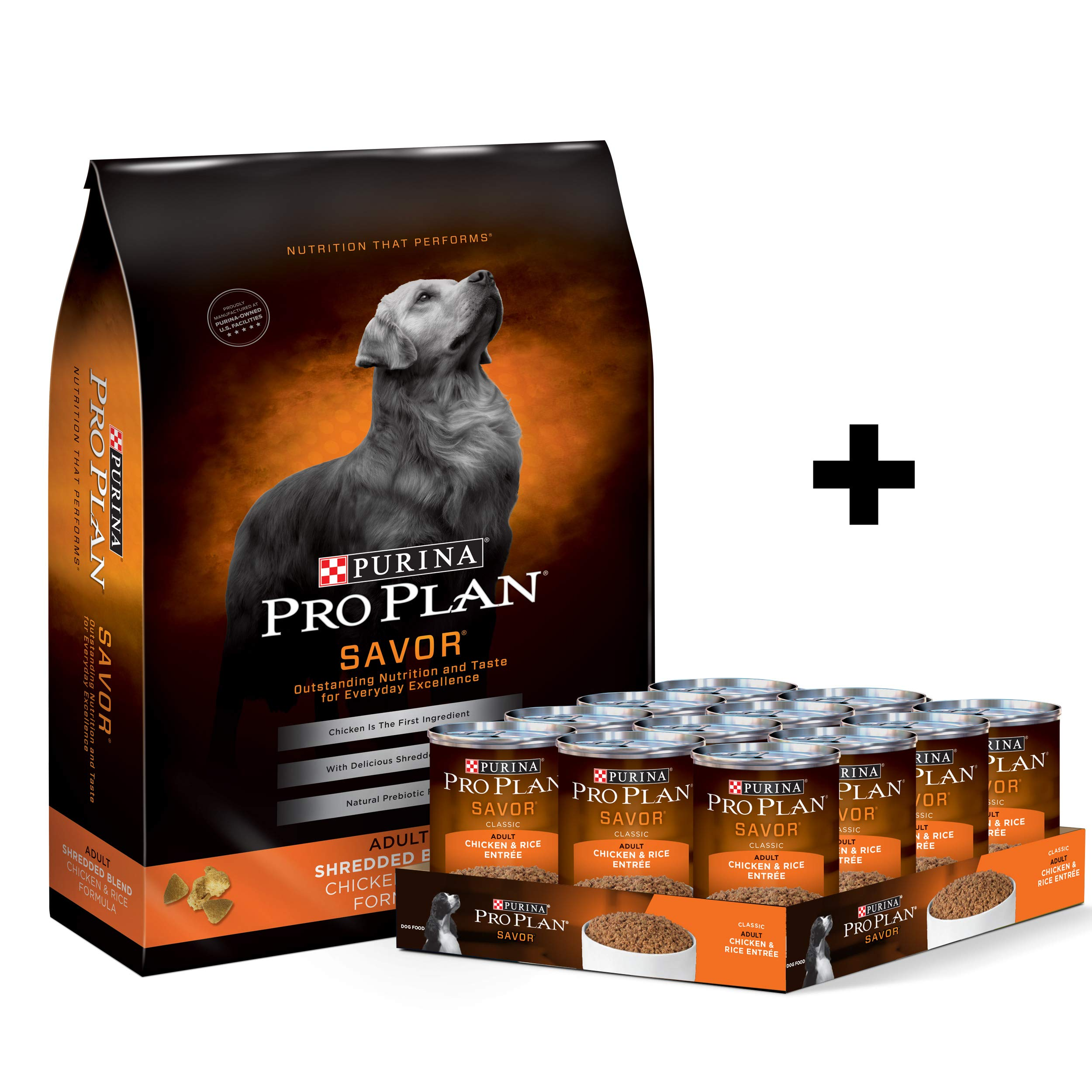 Purina Pro Plan Savor Chicken & Rice - Dry Dog Food & Canned Wet Dog Food Bundle Package by Purina Pro Plan