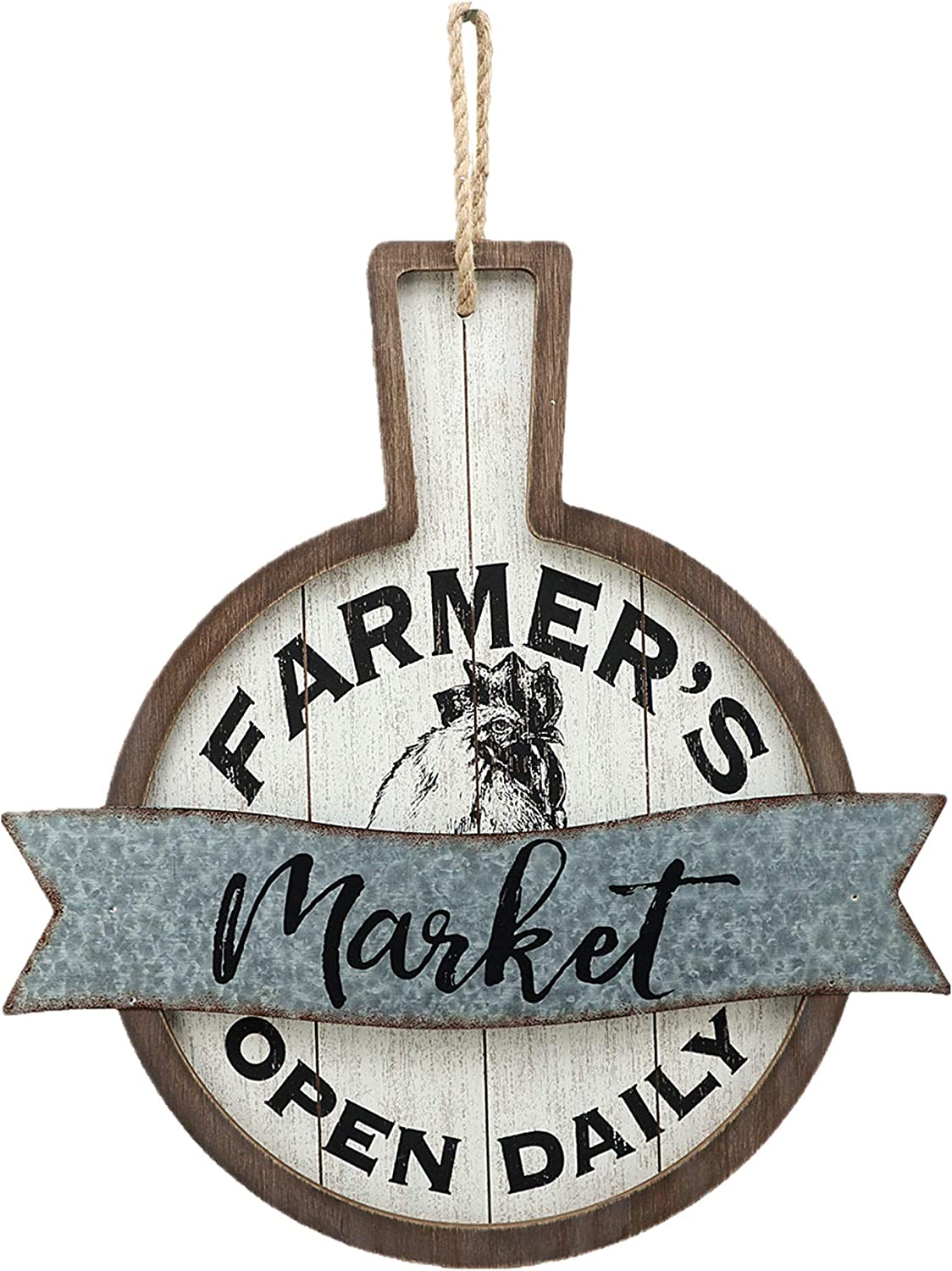 Parisloft Farmer's Market Open Daily Wood and Metal Circular Signs|Rustic Farmhouse Kitchen Wood Sign Plaque Wall Hanging Decor 17.75x0.5x19''