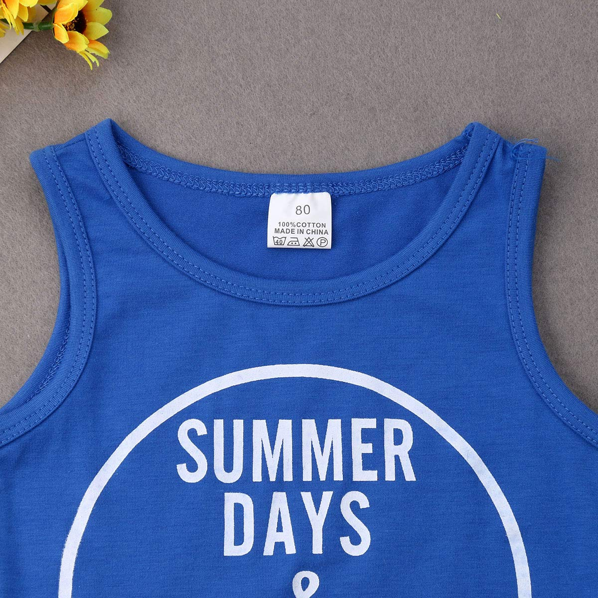 Toddler Baby Boys Sleeveless Letter Print Blue T-Shirt White Shorts Outfit Set Summer Clothes