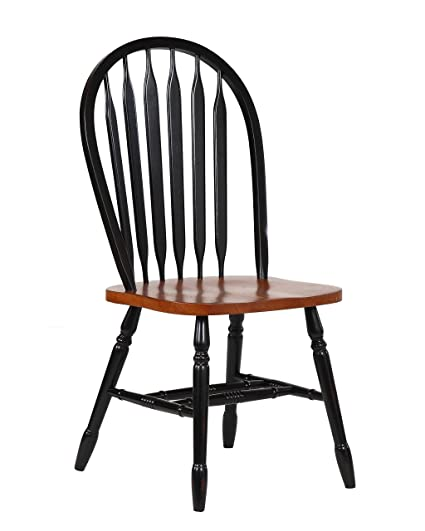 """Sunset Trading Arrowback Dining Chair, Set of 2, 38"""", Antique Black/ - Amazon.com - Sunset Trading Arrowback Dining Chair, Set Of 2, 38"""