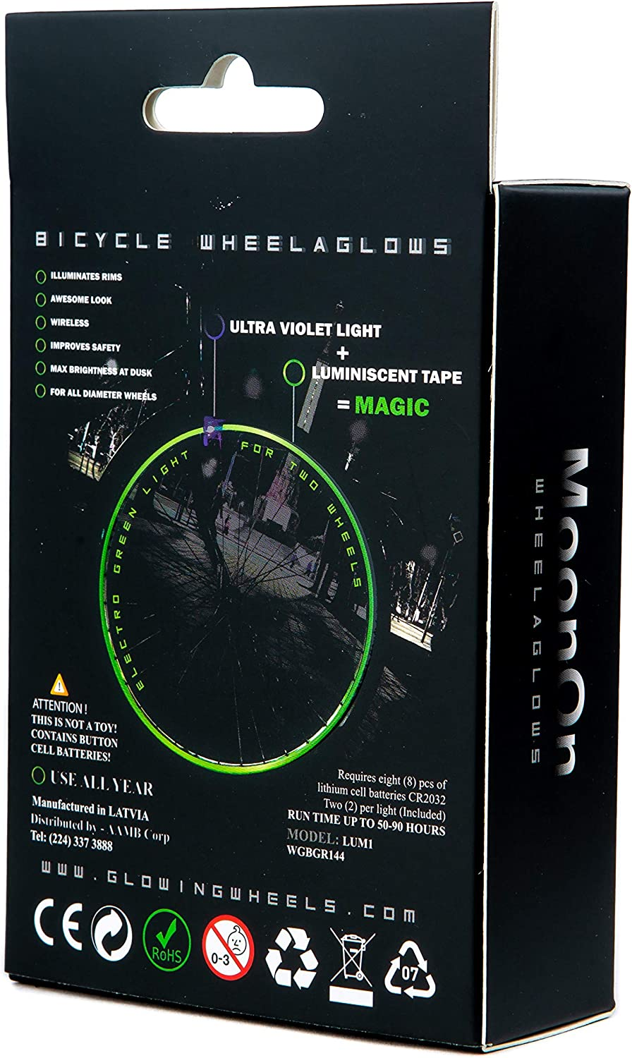 LED Lights MoonOn Wheelaglows Bicycle Wireless Light System Kit Rim//Wheel Glow in The Dark Electro Green Luminescent Glowing Tape Activated by UV