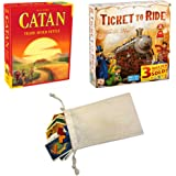 Catan 5th Edition and Days of Wonder's Ticket to Ride Bundle | Includes Convenient Drawstring Storage Pouch