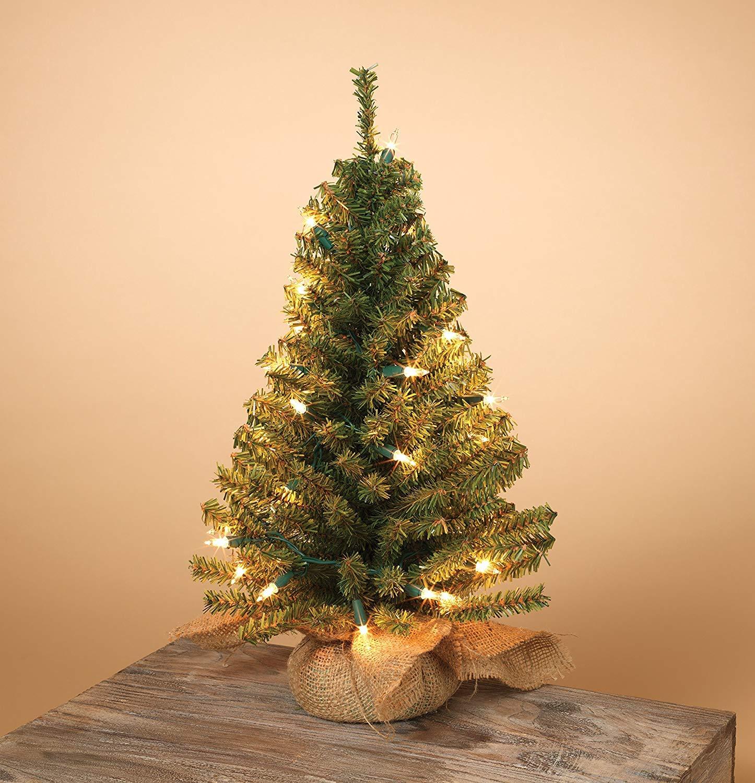 buy online f2f1a c4034 Gerson Pre-lit Artificial 18 Inch Pine Tree Burlap Sack Base Tabletop  Christmas Tree - Silk Flower Arrangements