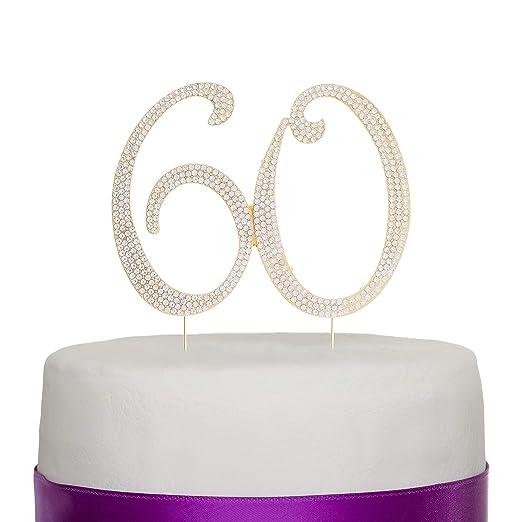 Número 60 Decoración para torta Topper Dorado 60 años Fiesta de Cumpleaños o de Aniversario Diamantes de imitación Pedrería