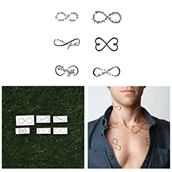6b4554b74 Amazon.com : Tattify Infinity Sign Temporary Tattoos - Chin Up (Set of 12  Tattoos - 2 of each Style) - Individual Style Available and Fashionable  Temporary ...