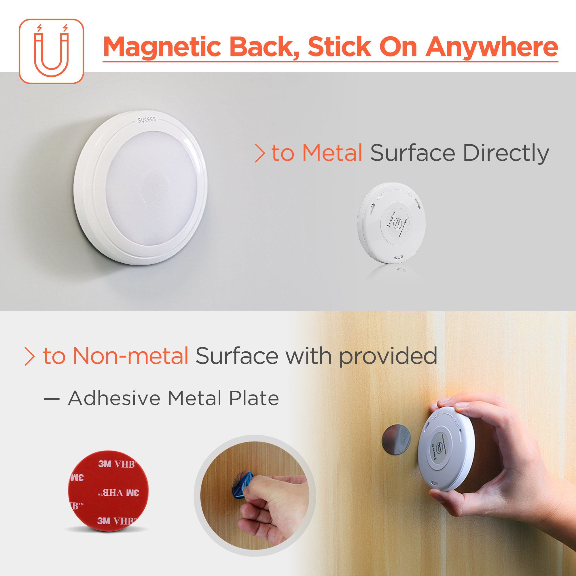 Sycees Touch Activated LED Puck Lights, Dimmable, Battery Operated, Stick on Anywhere, Warm White (2700K), 3-Pack by SYCEES (Image #4)