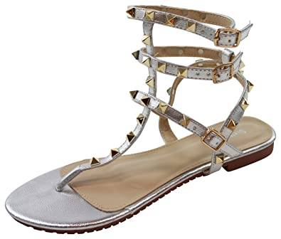 a9adc1b3c New Womens Flat Sandals Ankle Strap Toe Post Studded Gladiator Summer Shoes  (37   4