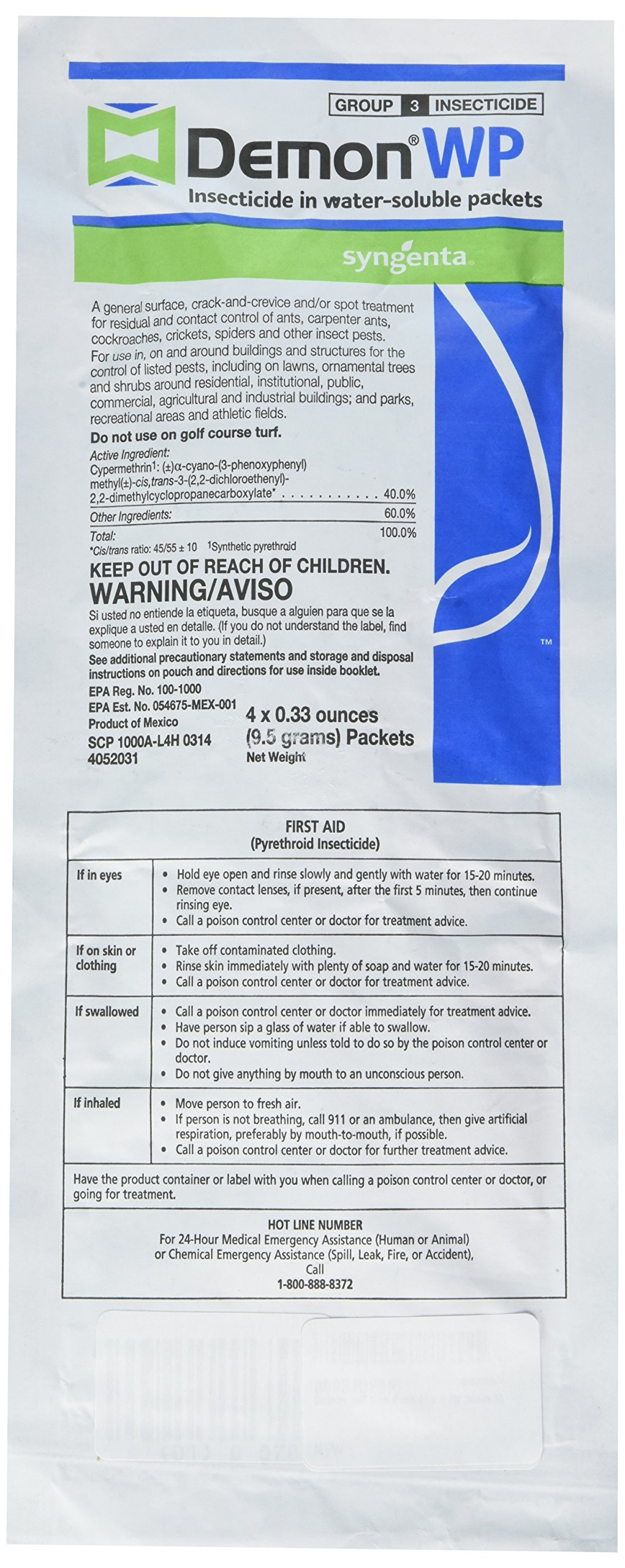 Syngenta - H-AP-2319890 - Demon WP  Insecicide, 1 Envelope (9.5g) containing 4  (0.33 ounces) packets by syngenta