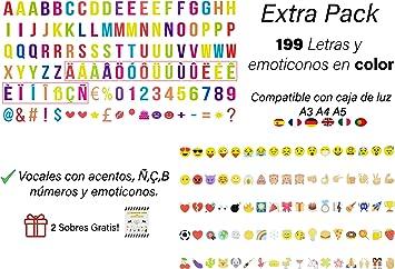 199 letras, números, emoticonos MULTICOLOR para caja de luz A4, A3 ...