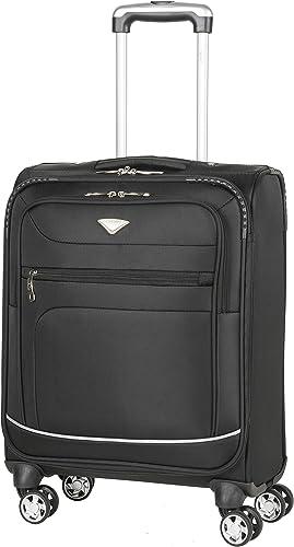 Flight Knight Lightweight 8 Wheel 840D Soft Case Suitcases Maximum Size For Emirates – Cabin Black FFK0034_S