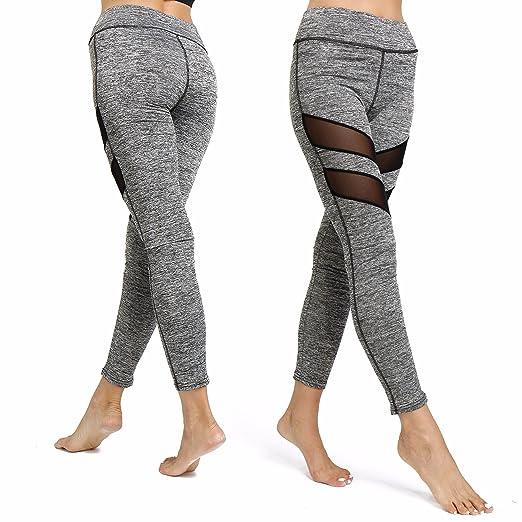 357b89e685 CFR Sexy Mesh Fitness Leggings Women's Yoga Workout Sports Pants Tights  Gray,S UPS Post