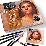 Castle Arts 24 lápices de colores en un estuche de metal, colores Portrait perfectos para dibujar, esbozar, colorear…
