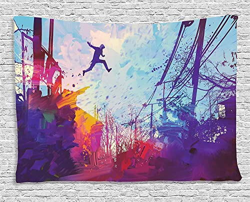 Ambesonne Fantasy Tapestry, Hippie Person Jumping from Roof Paint Brush Junkyard Place Grunge Artwork Print, Wide Wall Hanging for Bedroom Living Room Dorm, 80 X 60 , Purple Blue