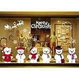 GBQ_Future Feliz Navidad Poco Lindo Oso Blanco Pegatina Copo de Nieve Alce Decoración de Navidad Impermeable Calcomanía Extraíble para Ventana/Puerta de Casa y Tienda