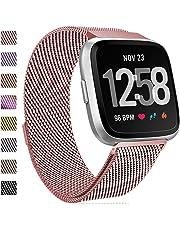 HUMENN Für Fitbit Versa Armband, Milanese Edelstahl Handgelenk Ersatzband Armbänder mit Starkem Magnetverschluss für Fitbit Versa Special Edition Klein Groß