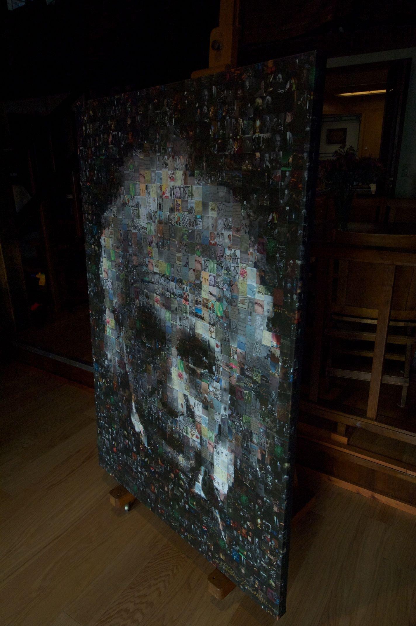 Albert Einstein Mosaic Photo Collage on Canvas
