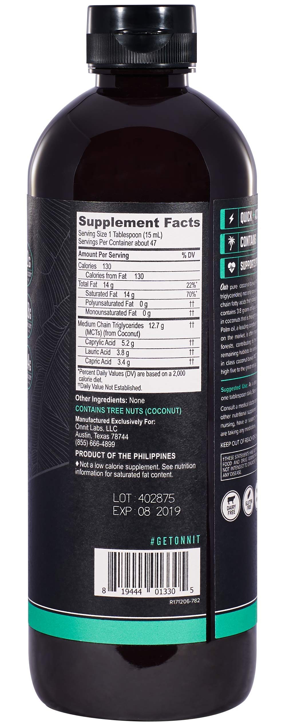 Onnit MCT Oil - Pure MCT Coconut Oil, Ketogenic Diet and Paleo Optimized with C8, C10, Lauric Acid - Perfect for Coffee, Shakes, and Cooking (Flavorless - 24oz) by ONNIT (Image #2)