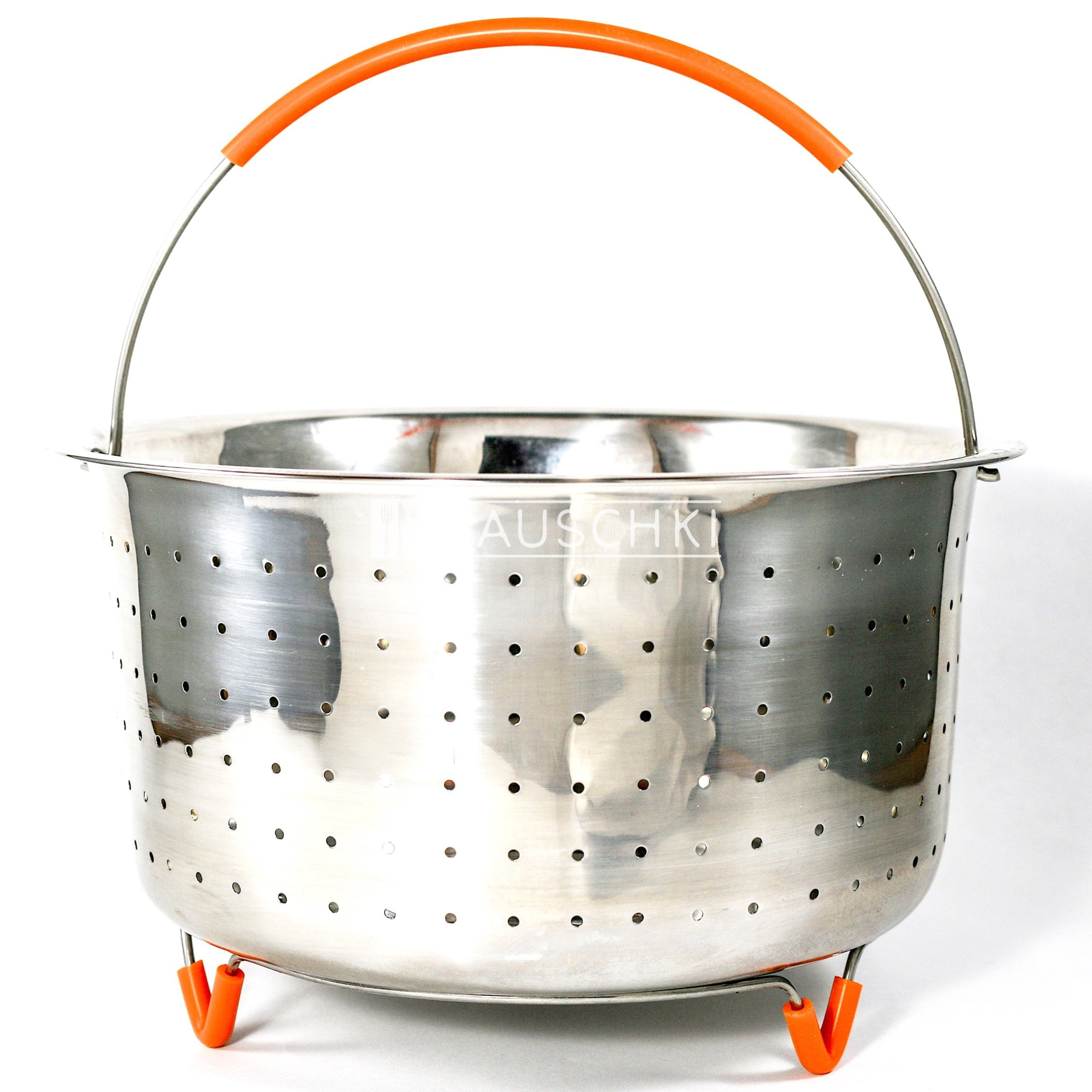 Bauschki Instant Pot Accessories, Vegetable Steamer Basket for instapot 6qt, 8qt - Egg Meat Food Rice Dumpling Cooker 6 qt, 8 quart Accessory - Stainless Steel, BPA Free Non-Slip Silicone Handle &Legs