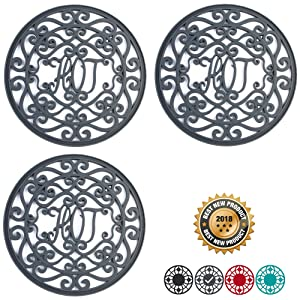 "Silicone Trivet Set For Hot Dishes | Modern Kitchen Hot Pads For Pots & Pans |""Hot"" Ironworks Design (Rustic Charm) Mimics Cast Iron Trivets (7.5"" Round, Set of 3, Dark Gray)"