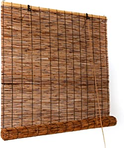 Bamboo Roll Up Window Blind for Outdoor Patio Porch Balcony Partition,Sun Shade Sunscreen Window Blinds Light Filtering Roller Shades W20 xH24 W35 xH87 W73 xH72