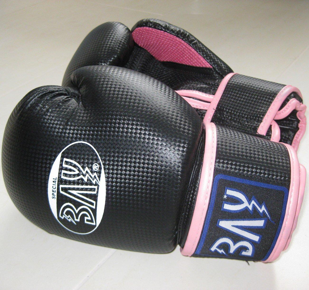 BAY® fresh mesh Boxhandschuhe schwarz pink rosa 12 Unzen mit Netz-Gewebe, Box-Handschuhe, Carbon Look, UZ OZ, PU-Leder, Profi Delux, Kickboxen, Boxen, Thaiboxen, Muay Thai, Frauen Damen Kinder Jugendliche Junioren Mädchen 4260264055062