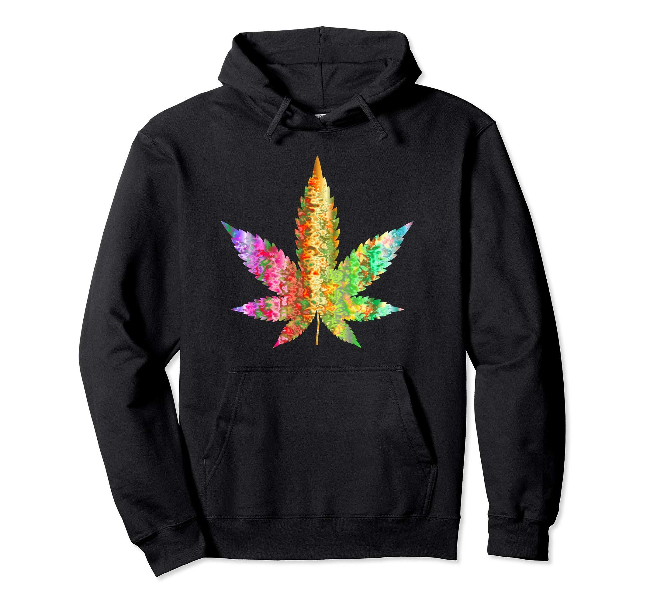 Psychedelic Weed Cannabis Plant Marijuana Leaf Art Hoodie