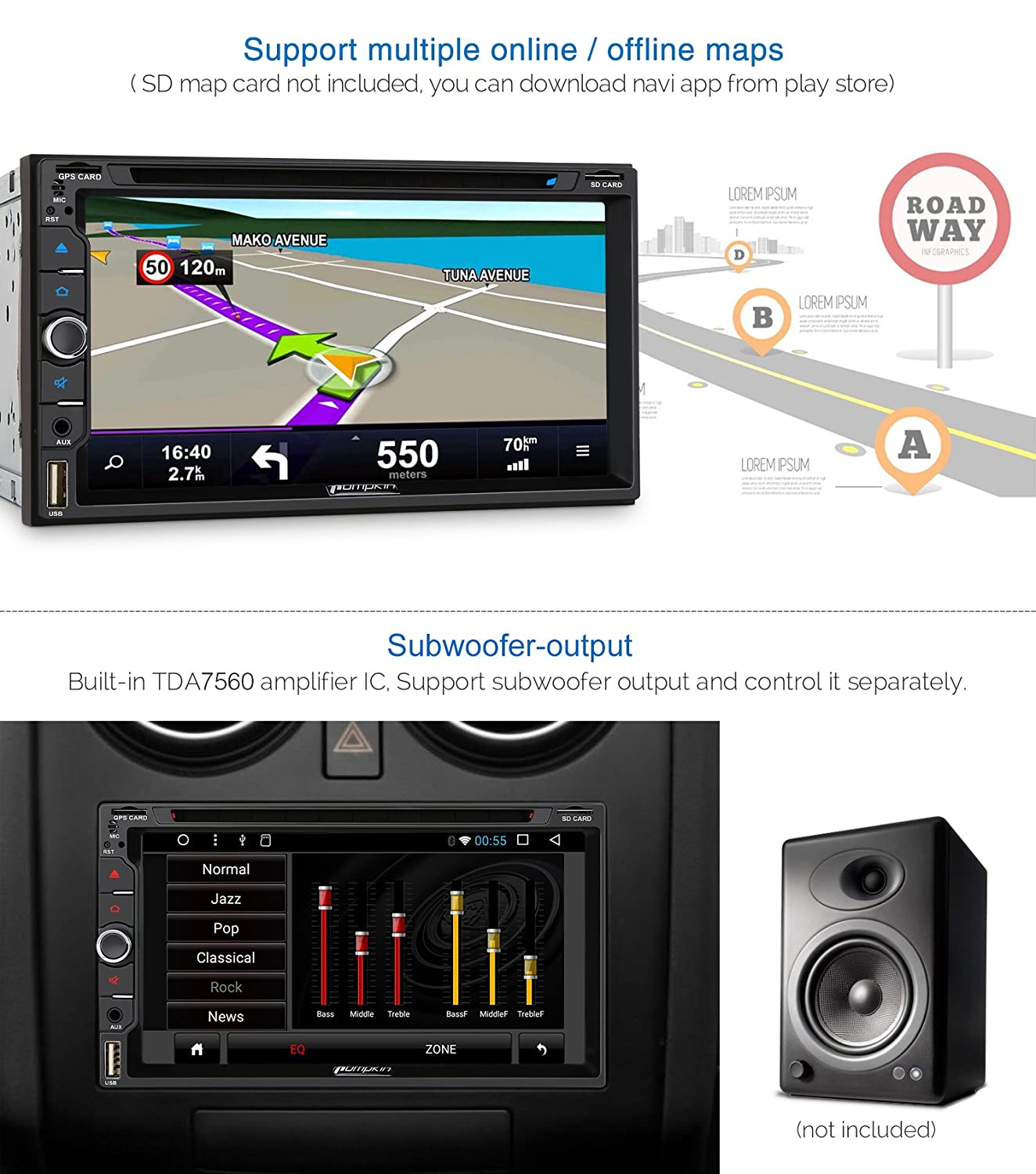 Pumpkin Android 71 Octa Core 2gb 32gb Car Stereo 6 3 Electrical Wire 66 Ford Mustang Wiring Diagram Air Electronics