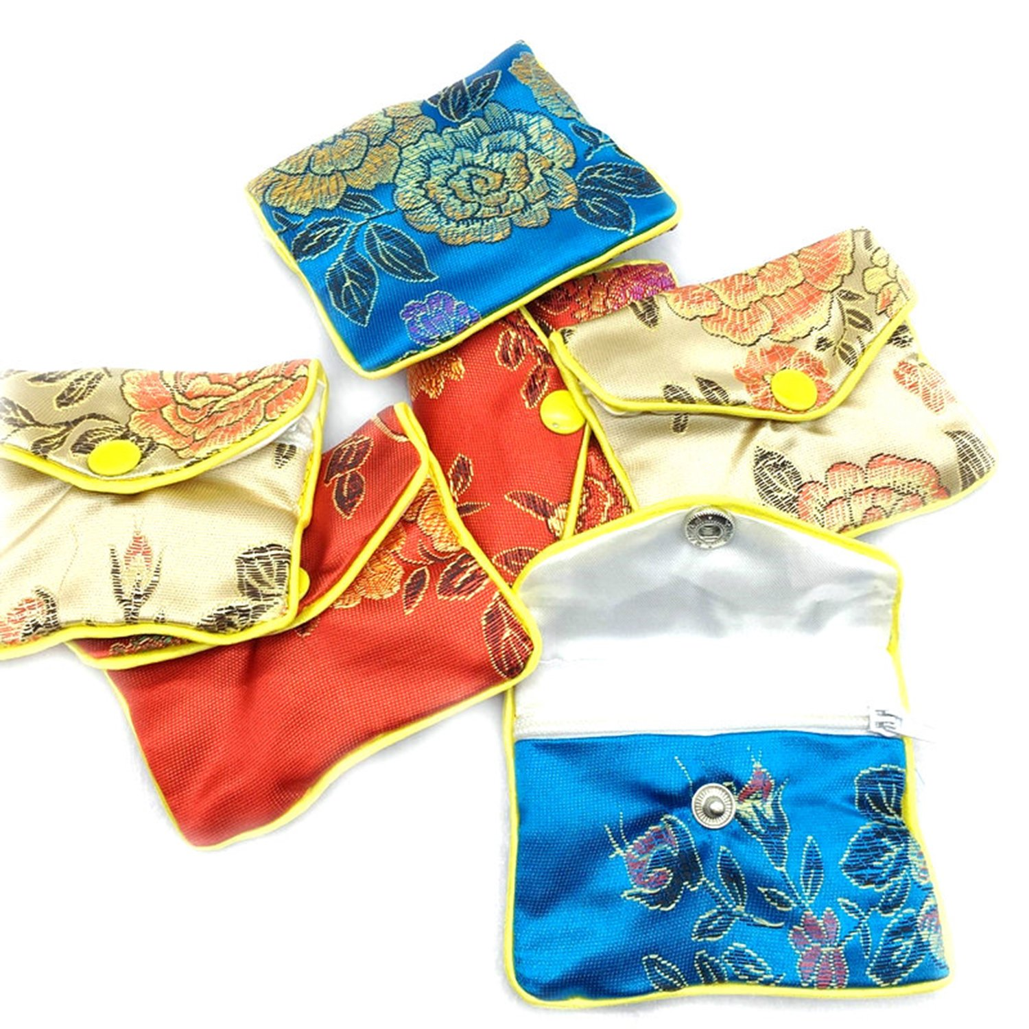 Yamed 12Pcs Chinese Silk Pouch Wallet Coin Purse Random Color Bag Jewelry Gift